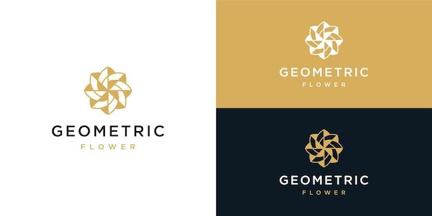 Modelo de design de logotipo de flor geométrica de beleza