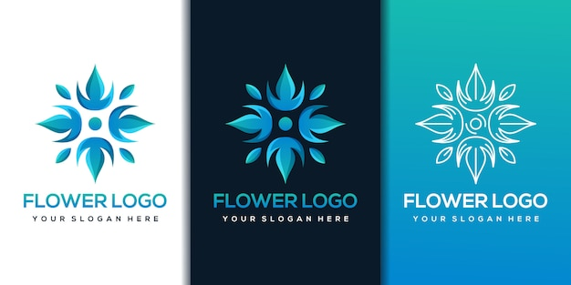 Modelo de design de logotipo de flor