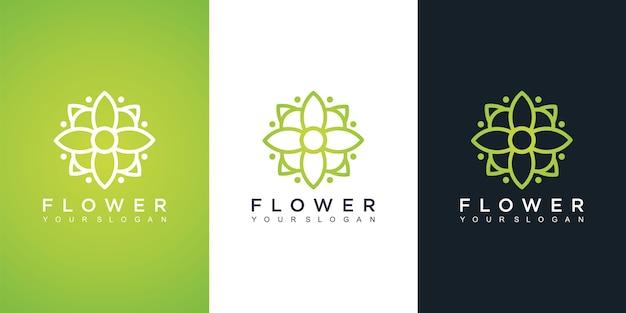 Modelo de design de logotipo de flores em cores diferentes
