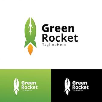 Modelo de design de logotipo de foguete verde