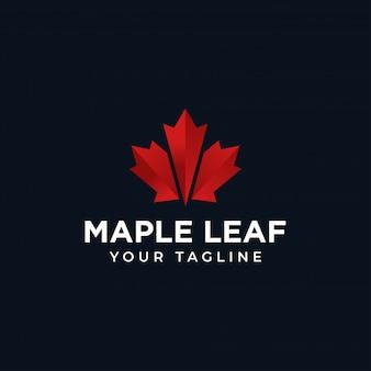Modelo de design de logotipo de folha de bordo vermelho do canadá
