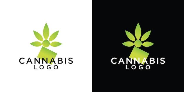 Modelo de design de logotipo de folha de cannabis