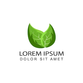 Modelo de design de logotipo de folha de hortelã