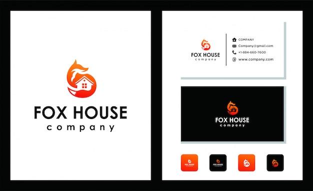 Modelo de design de logotipo de fox house