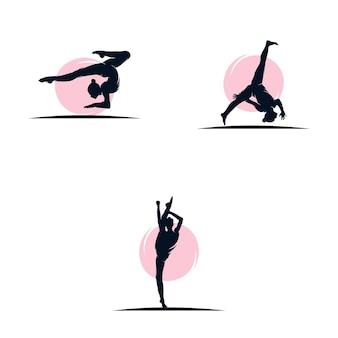 Modelo de design de logotipo de ginástica