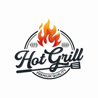 Modelo de design de logotipo de grelha quente