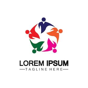 Modelo de design de logotipo de ícone de comunidade, rede e social
