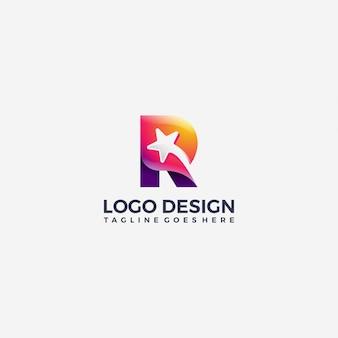 Modelo de design de logotipo de ícone de estrela cadente gradiente letra r