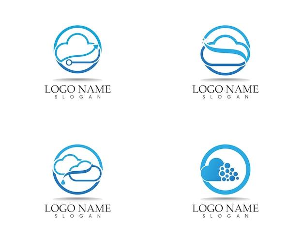Modelo de design de logotipo de ícone de nuvem