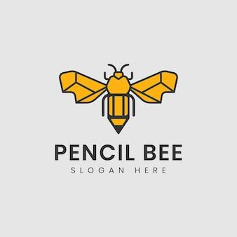 Modelo de design de logotipo de ideia de abelha e lápis