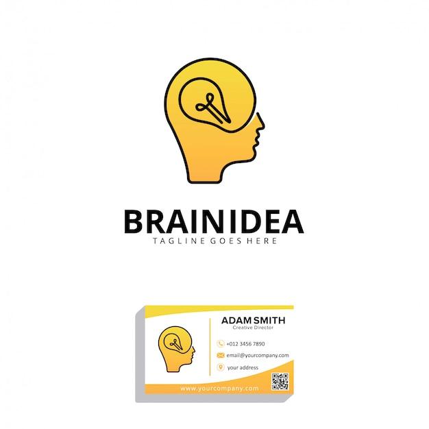 Modelo de design de logotipo de idéia de cérebro
