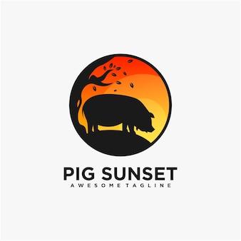 Modelo de design de logotipo de ilustração de mascote porco