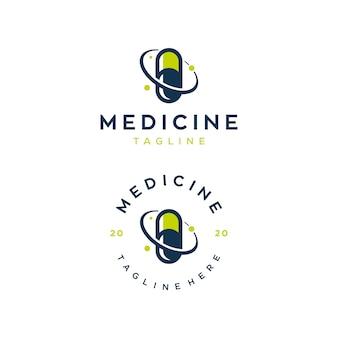 Modelo de design de logotipo de ilustração de medicina