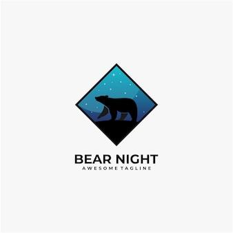 Modelo de design de logotipo de ilustração de noite de urso