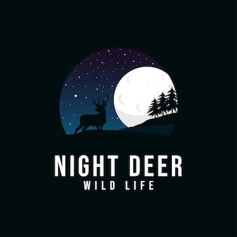 Modelo de design de logotipo de ilustrações de veado à noite
