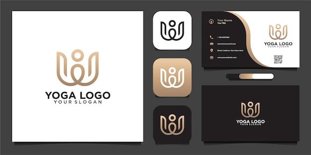 Modelo de design de logotipo de ioga simples com linha e cartão de visita
