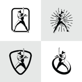 Modelo de design de logotipo de jogador de beisebol