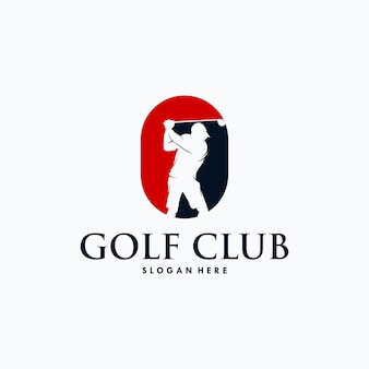 Modelo de design de logotipo de jogador de golfe