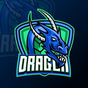 Modelo de design de logotipo de jogo mascote dragão para esport