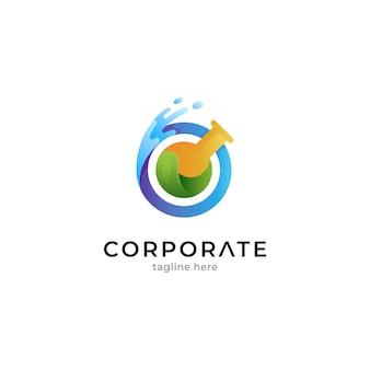 Modelo de design de logotipo de laboratório criativo pronto para uso