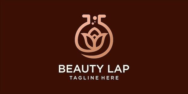 Modelo de design de logotipo de laboratório de flores