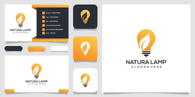 Modelo de design de logotipo de lâmpada natura e cartão de visita