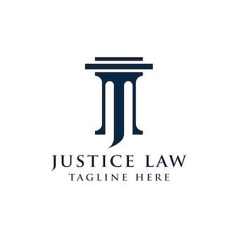 Modelo de design de logotipo de lei de justiça. ilustração em forma de pilar e estrela