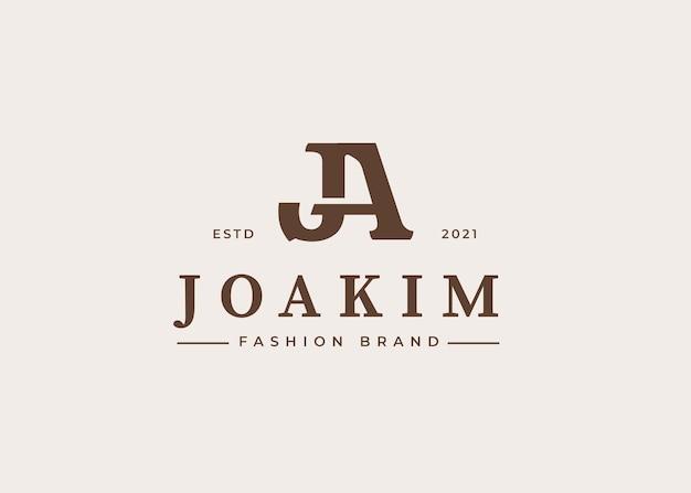 Modelo de design de logotipo de letra inicial ja, ilustrações vetoriais