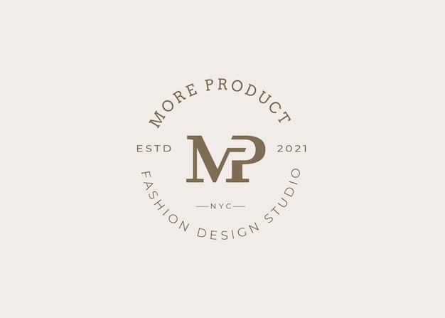 Modelo de design de logotipo de letra mp inicial minimalista, estilo vintage, ilustrações vetoriais
