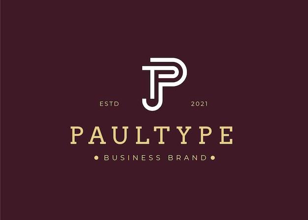 Modelo de design de logotipo de letra p inicial minimalista, ilustrações vetoriais