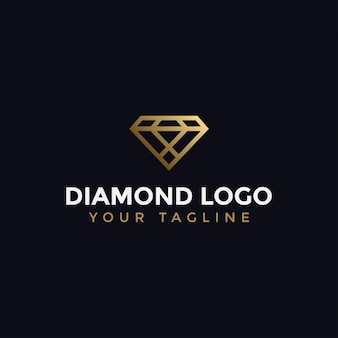 Modelo de design de logotipo de linha abstrata elegante diamante jóias