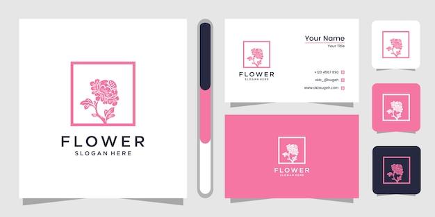 Modelo de design de logotipo de linha arte flor
