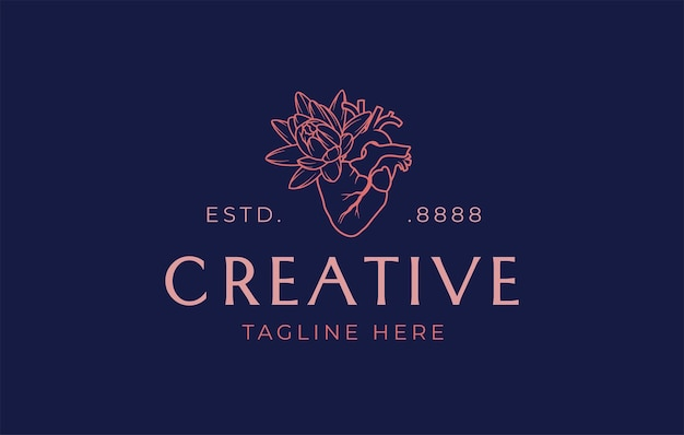 Modelo de design de logotipo de linha de flores de coração criativo