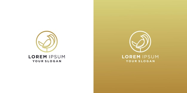 Modelo de design de logotipo de linha de pássaro