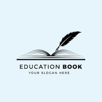 Modelo de design de logotipo de livro educacional