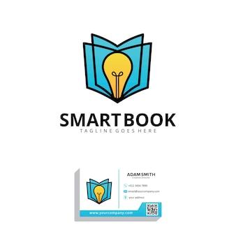 Modelo de design de logotipo de livro inteligente