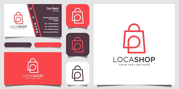 Modelo de design de logotipo de localização de loja, bolsa combinada com mapas de pinos.