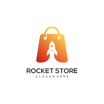 Modelo de design de logotipo de loja de foguetes