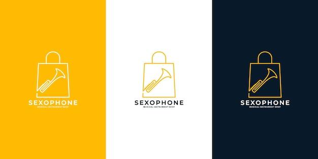 Modelo de design de logotipo de loja de saxofone minimalista limpo Vetor Premium