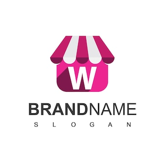 Modelo de design de logotipo de loja letra w, símbolo de loja online.