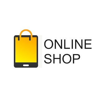 Modelo de design de logotipo de loja online. projeto do vetor do saco de compras. símbolo do mercado digital