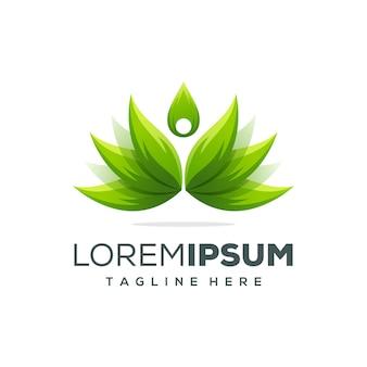 Modelo de design de logotipo de lótus linda ioga