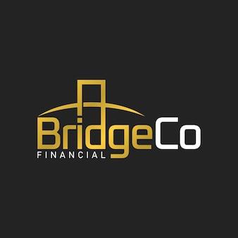 Modelo de design de logotipo de luxo ouro da corporação bridge