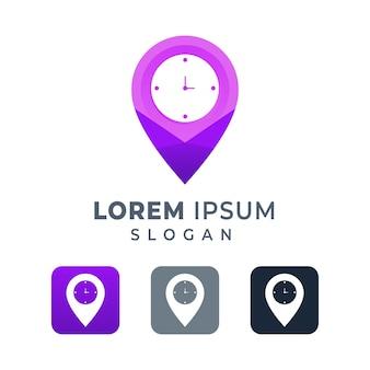 Modelo de design de logotipo de marca de ponto de relógio