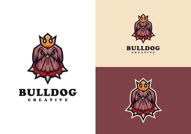 Modelo de design de logotipo de mascote de personagem bulldog