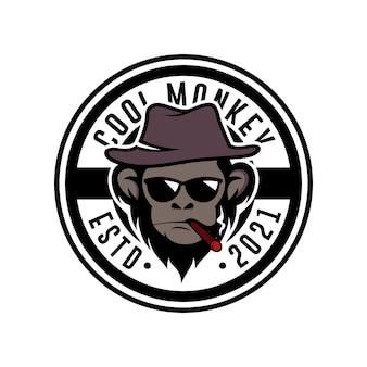 Modelo de design de logotipo de mascote macaco