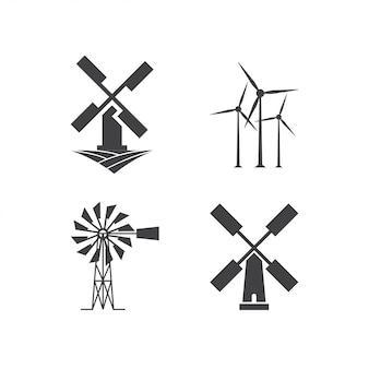 Modelo de design de logotipo de moinho de vento