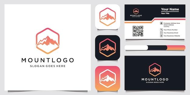 Modelo de design de logotipo de montanha e cartão de visita