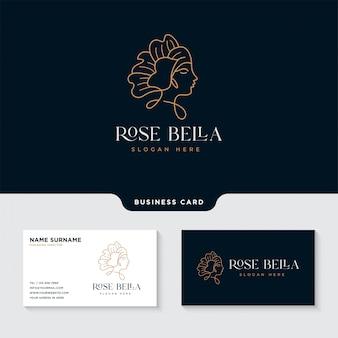 Modelo de design de logotipo de mulher beleza flor