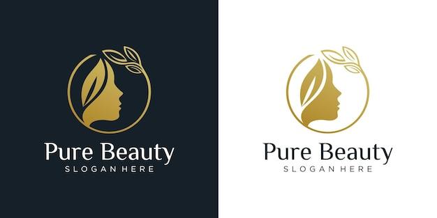 Modelo de design de logotipo de mulher de beleza
